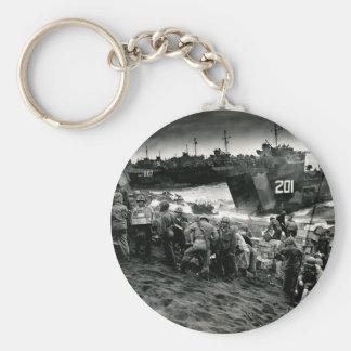 WWII Marines offload Supplies on Iwo Jima Basic Round Button Keychain