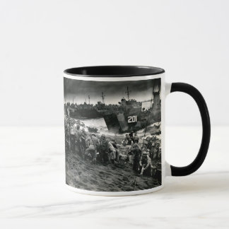 WWII Marines offload Supplies on Iwo Jima Mug