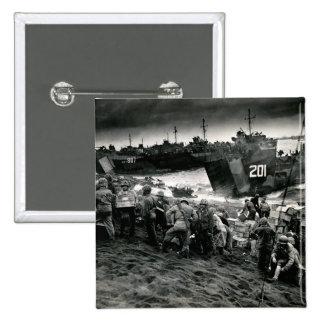 WWII Marines offload Supplies on Iwo Jima Pins