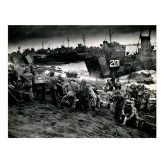 WWII Marines offload Supplies on Iwo Jima Postcard