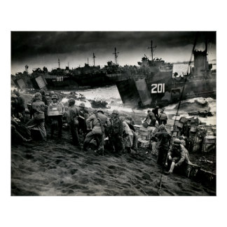 WWII Marines offload Supplies on Iwo Jima Poster