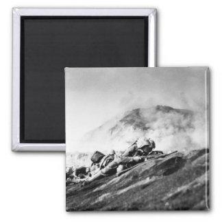 WWII Marines on Iwo Jima Beachhead 2 Inch Square Magnet