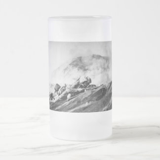 WWII Marines on Iwo Jima Beachhead Frosted Glass Beer Mug