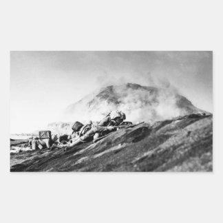WWII Marines on Iwo Jima Beachhead Rectangular Sticker