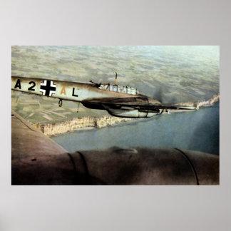 WWII ME-110 alemán sobre el canal inglés Impresiones