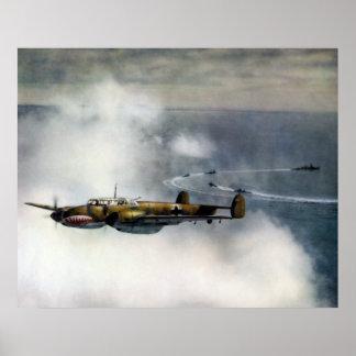 WWII ME-110 alemán sobre el Mar del Norte Impresiones