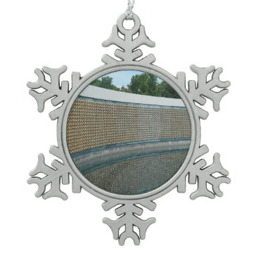 WWII Memorial Freedom Wall in Washington DC Snowflake Pewter Christmas Ornament