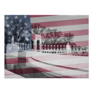 WWII Memorial with Flag Overlay Poster