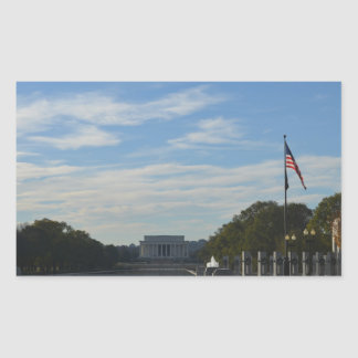 WWII Memorial with Lincoln Memorial Rectangular Sticker
