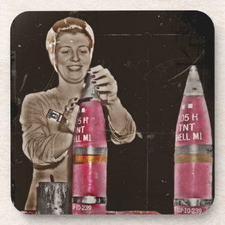 WWII Mom Making a Bomb Drink Coaster
