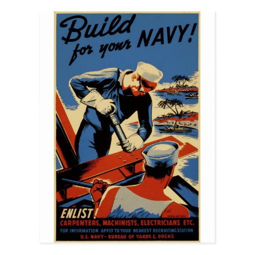 WWII Navy Poster Design Post Card