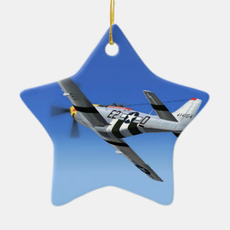 WWII P51 Mustang Fighter Plane Double-Sided Star Ceramic Christmas Ornament