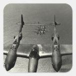 WWII P-38 Lightnings Square Sticker