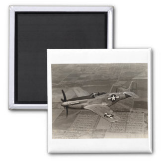 WWII P-51 Mustang in Flight 2 Inch Square Magnet
