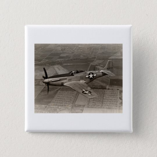 WWII P-51 Mustang in Flight Pinback Button