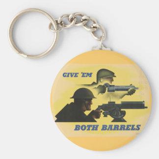 WWII Patriotic Poster Basic Round Button Keychain