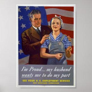 WWII Patriotic Poster  / Civilian Jobs