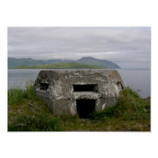 WWII Pillbox in Dutch Harbor, Alaska Poster