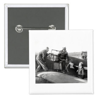 WWII Pilot + Crew of a P-51A Mustang 2 Inch Square Button