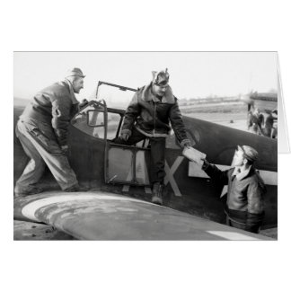 WWII Pilot + Crew of a P-51A Mustang Greeting Card