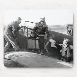 WWII Pilot + Crew of a P-51A Mustang Mouse Pad