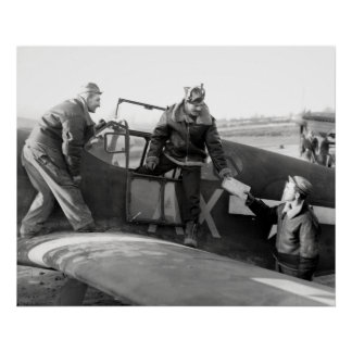 WWII Pilot + Crew of a P-51A Mustang Poster