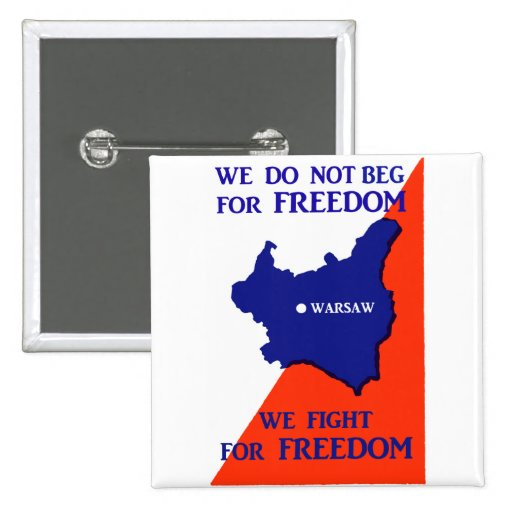 WWII Poland Fights for Freedom 2 Inch Square Button