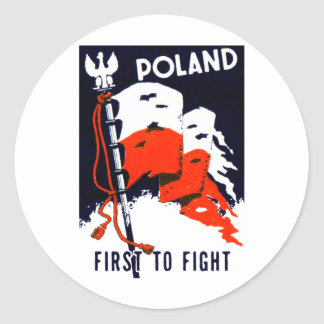 WWII Poland, First to Fight Poster Classic Round Sticker