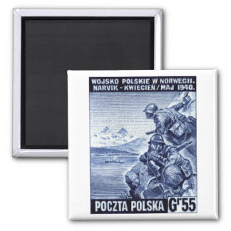 WWII Polish Army in Narvik, Norway 2 Inch Square Magnet