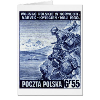 WWII Polish Army in Narvik, Norway Card