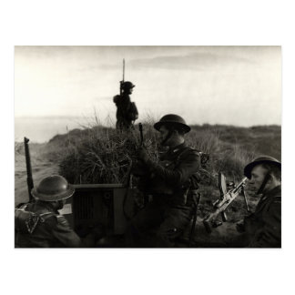 WWII Polish soldiers guard English Coast Postcard