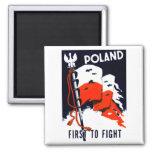 WWII Polonia, primero luchar el poster Imán Cuadrado