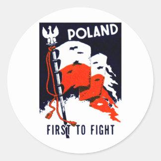 WWII Polonia, primero luchar el poster Pegatina Redonda