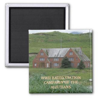 WWII Radio Station, Dutch Harbor, AK 2 Inch Square Magnet