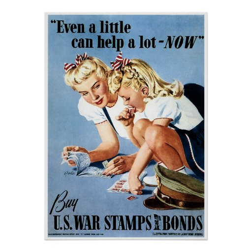 WWII Ration Stamps & War Bonds Poster