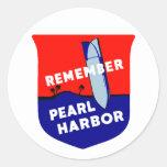 WWII recuerdan el Pearl Harbor Etiquetas Redondas