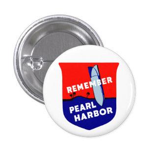 WWII recuerdan el Pearl Harbor Pin Redondo 2,5 Cm