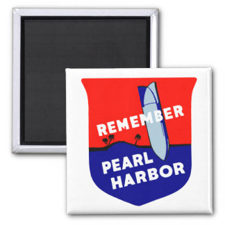 WWII Remember Pearl Harbor 2 Inch Square Magnet
