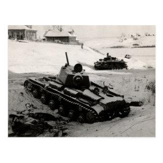 WWII Russian and German Tanks Postcard