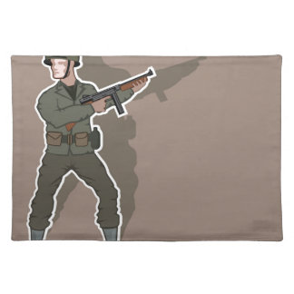 WWII soldier Cloth Placemat