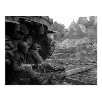 WWII Soldiers and Weapons by Burned Out Tank Postcard