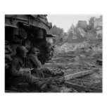 WWII Soldiers and Weapons by Burned Out Tank Print