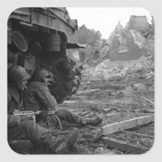 WWII Soldiers and Weapons by Burned Out Tank Square Sticker