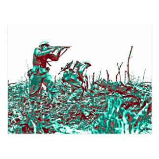 WWII Soldiers on Battlefield Postcard