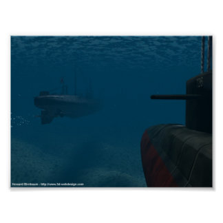 WWII Sub Battle Poster