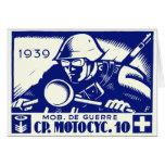 WWII Swiss Motorcycle Company, azul Felicitacion