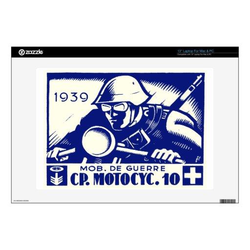WWII Swiss Motorcycle Company, azul Portátil Skins