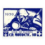 WWII Swiss Motorcycle Company, azul Postal