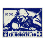 WWII Swiss Motorcycle Company, azul Poster