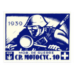 WWII Swiss Motorcycle Company, blue Postcards